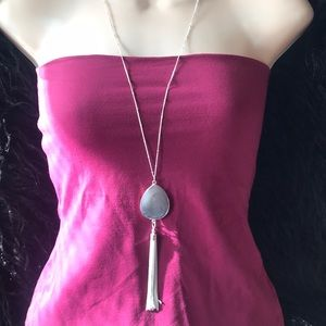 Silver Gray Tassel Long Statement Necklace